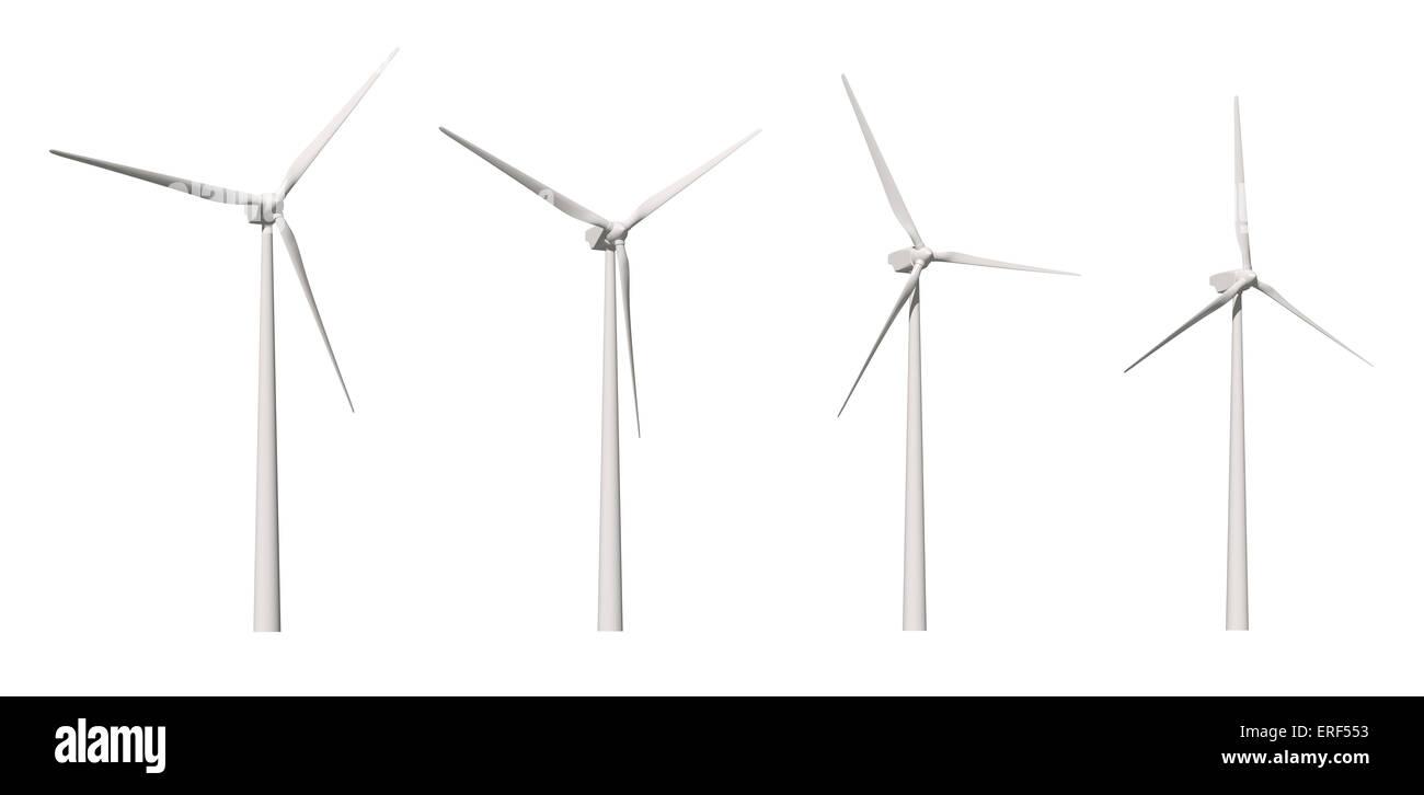 Windmühle isoliert auf weißem Hintergrund mit Beschneidungspfad Stockbild