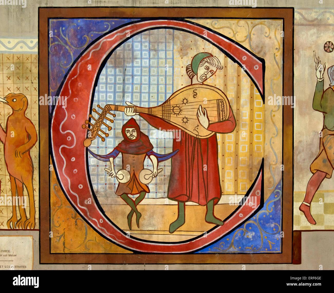 Reproduktion einer Zeichnung zeigt eine mittelalterliche Lautenspieler und einen Schlagzeuger spielen Nakers (oder Stockbild