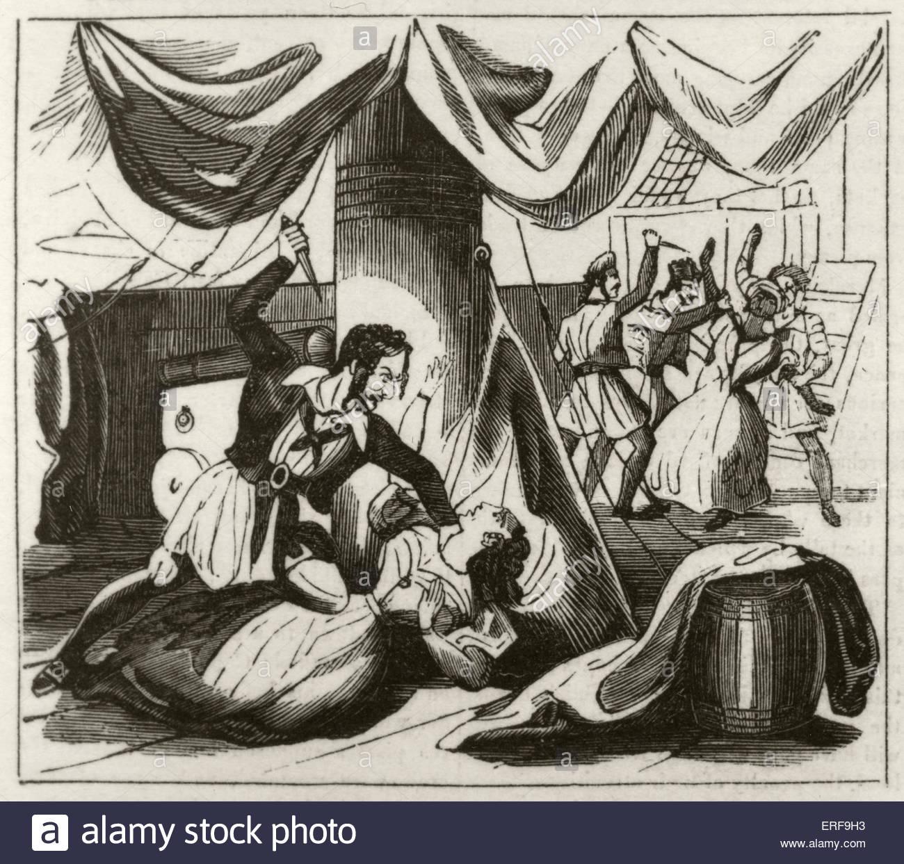"""Piraterie und Mord an Bord der Brigg """"Islam"""". Bildunterschrift lautet: Miss Campbell und ihr Cuckold Diener Stockbild"""