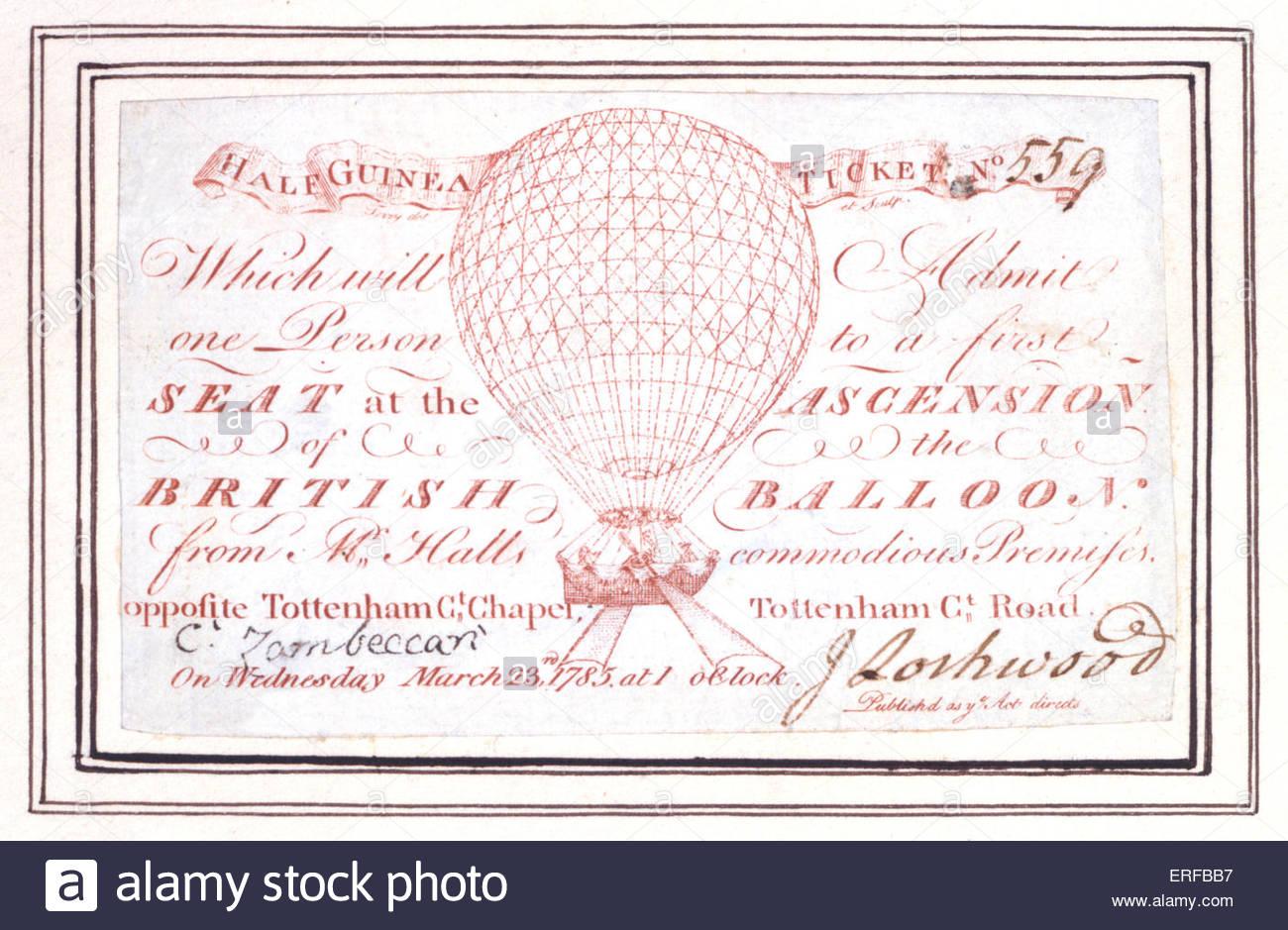 Halbe Guinea Ticket für einen Ballon Aufstieg an der Tottenham Court Road, London, England am 23. März Stockbild