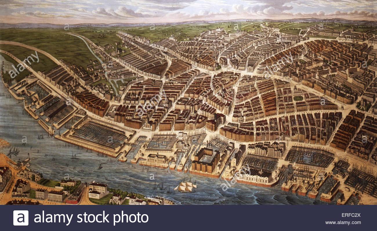 Panoramablick über Liverpool, 1847. Farbige Linie Drrawing von Ackermann. Mit freundlicher Genehmigung von Stockbild