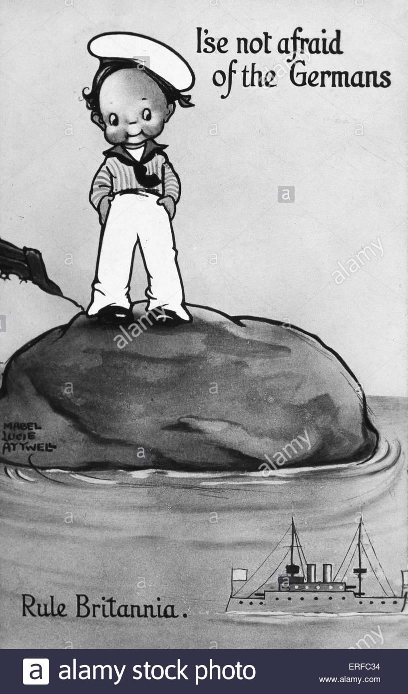 """""""Keine Angst vor der deutschen I'se"""" / """"Rule Britannia"""", Postkarte von Mabel Lucie Attwell. Stockbild"""