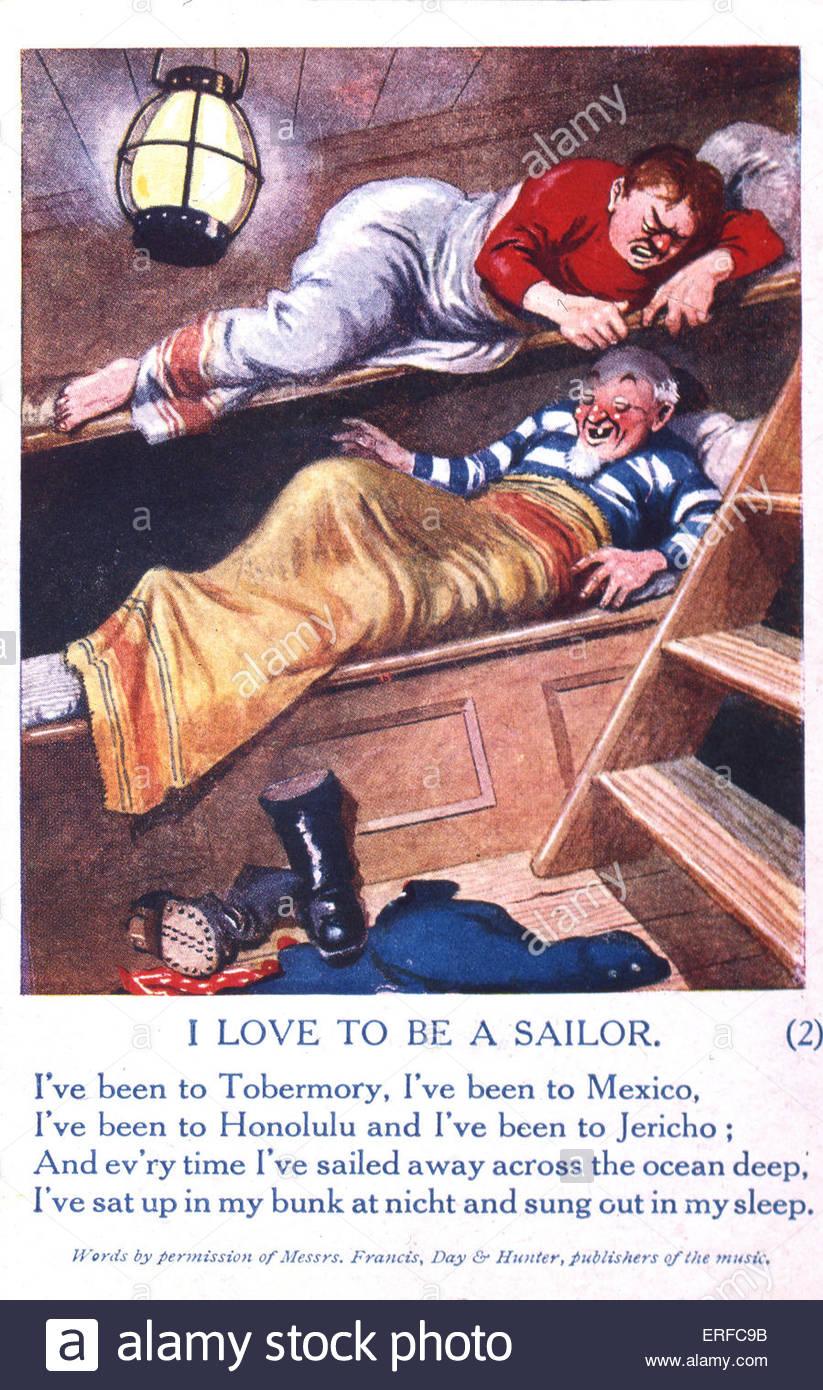 """""""Ich liebe ein Seemann zu sein"""", Comic Welt Krieg ich Postkarte. Zeigt zwei Matrosen in Etagenbetten. Stockbild"""