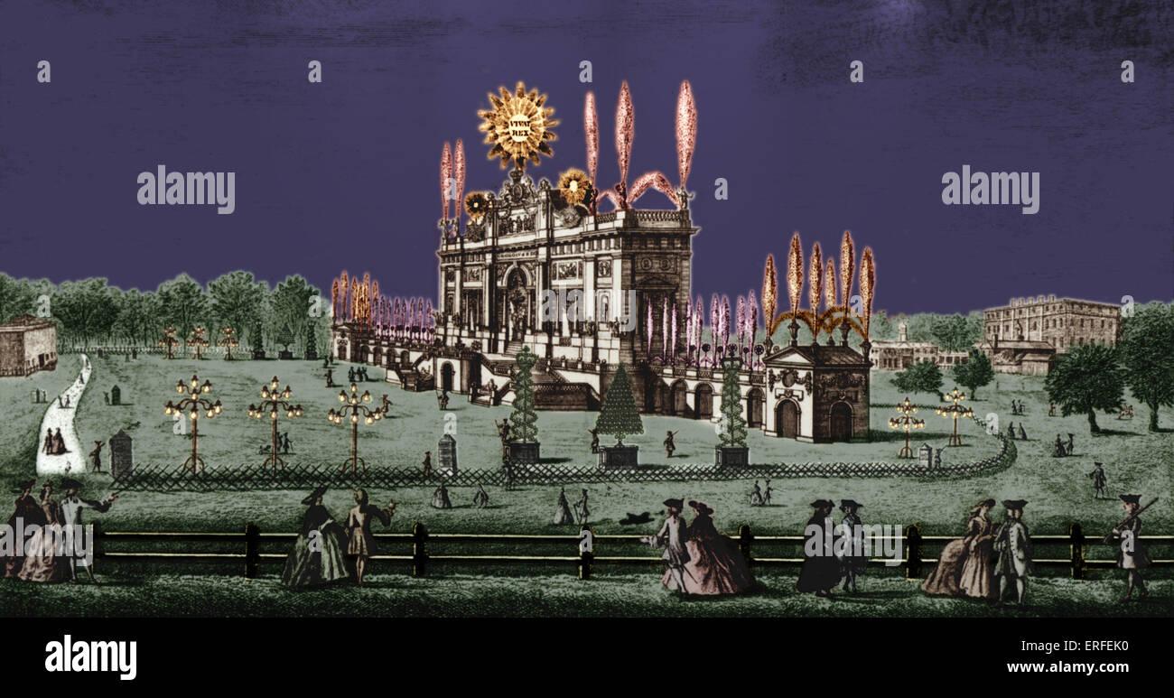 George Frideric Handel komponierte Musik für königliche Feuerwerk.  Das war Premiere 6 Monate nach der Stockbild