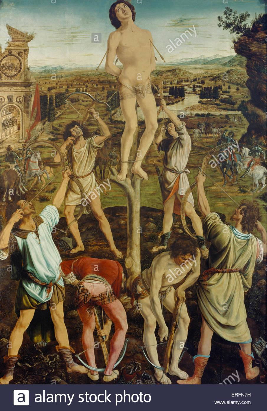 Das Martyrium des Heiligen Sebastian von Antonio und Piero del Pollaiuolo, 1475-Malerei. Italienischer Bildhauer, Stockbild