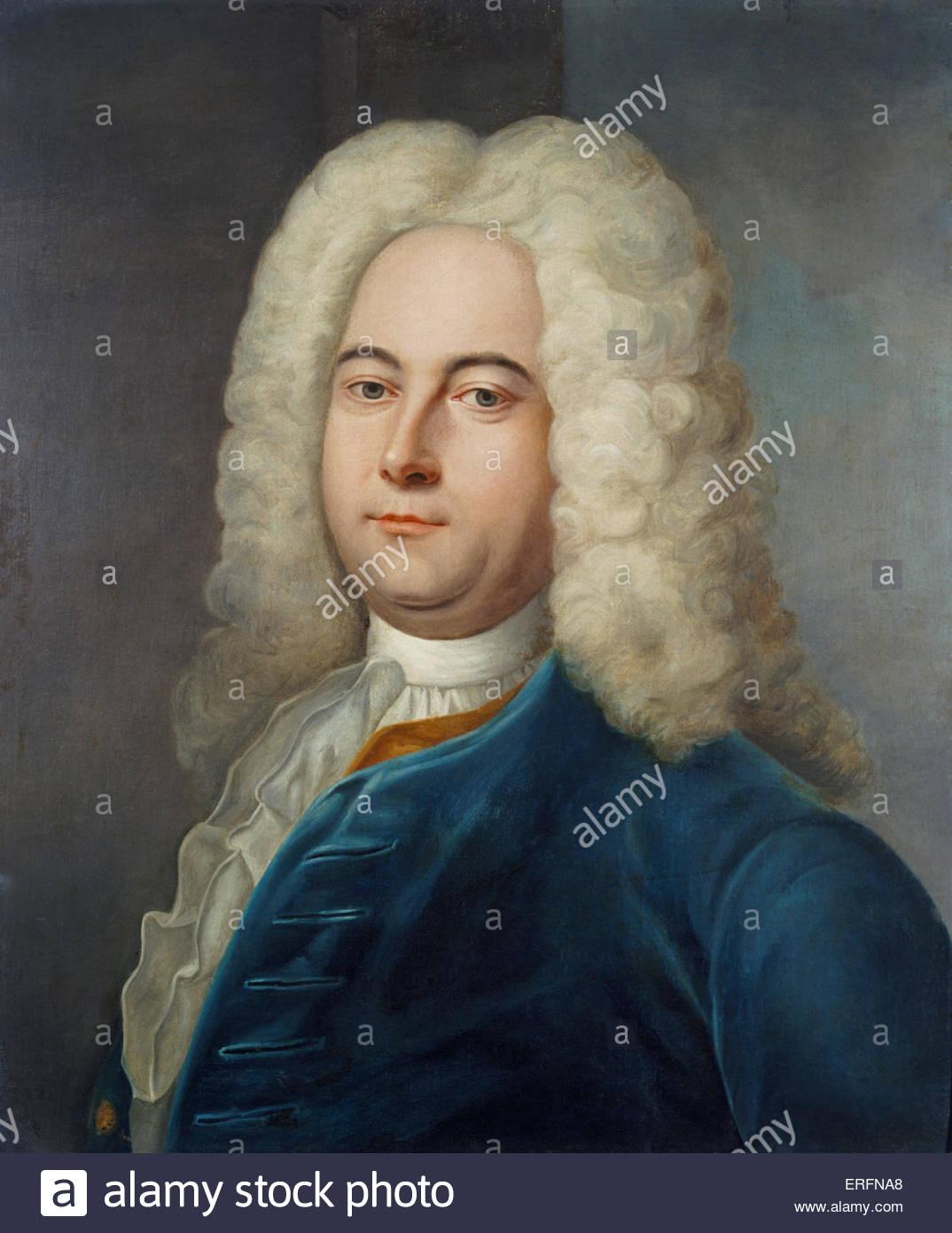 George Frideric Handel - Gemälde von Denner, 1752. Frideric Handel, deutsch-englische Komponist: 23. Februar Stockbild