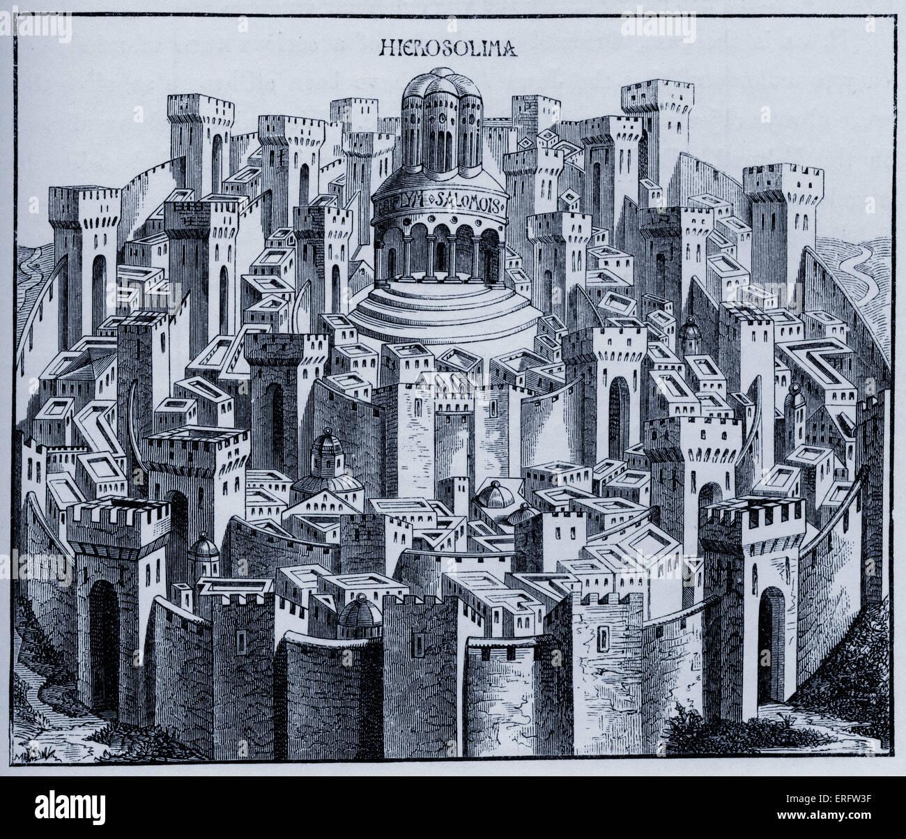 """Mittelalterlichen Plan von Jerusalem. Aus einem Holzschnitt in der """"Liber Chronicarum Mundi"""". Folio Nürnberg Stockbild"""