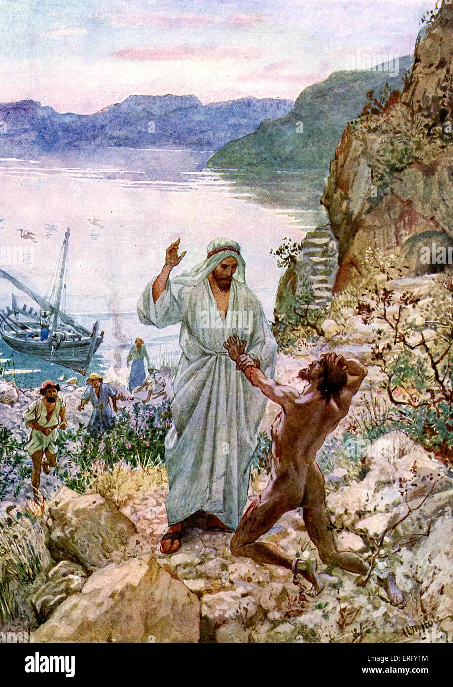 """Jesus heilt einen Dämonen besessen Mann in das Land des Gerasenes, in der Nähe von Galiläa. """"Und Stockbild"""