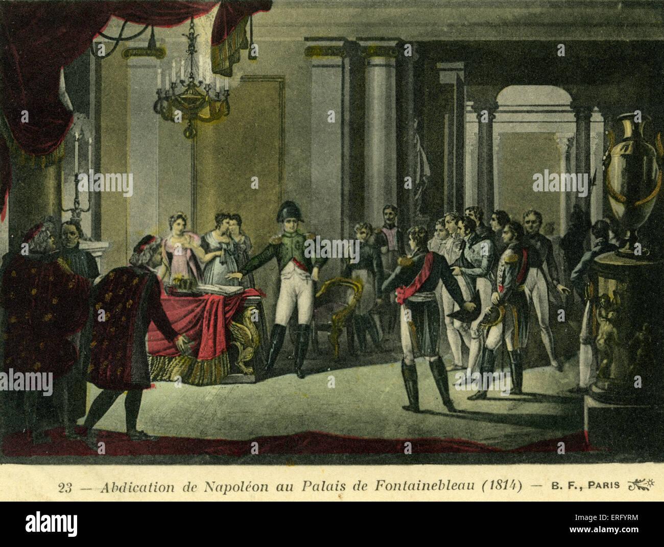 Napoleons Abdankung im Schloss Fontainebleau 1814. Vertrag von ...