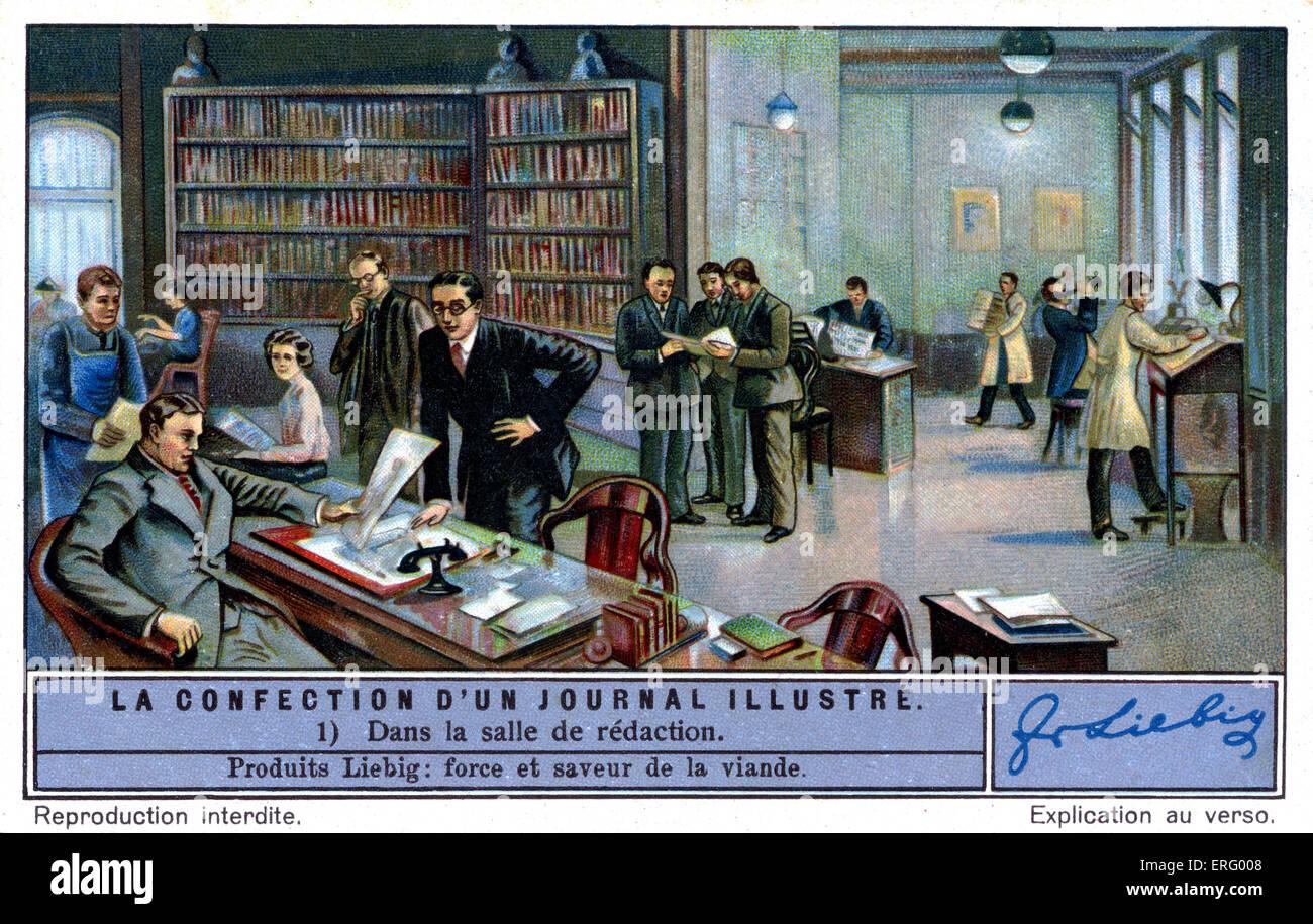 Redaktion von einer illustrierten französischen Magazin ca. 1934. (Liebig Serie: La d ' un Journal Illustré Stockbild