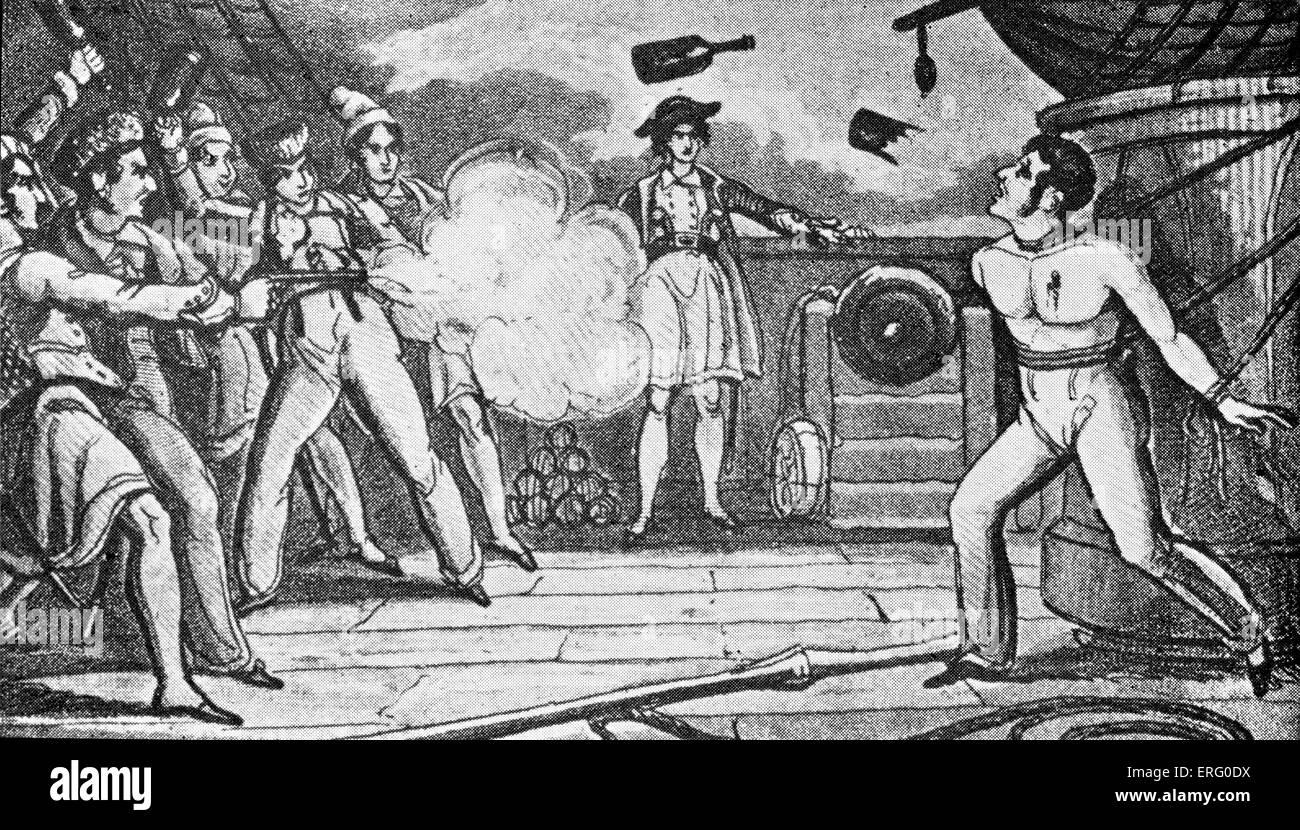 """""""Piraten töten einen Mann gefangen genommen"""", drucken. Piraten zu schießen und werfen Flaschen Stockbild"""