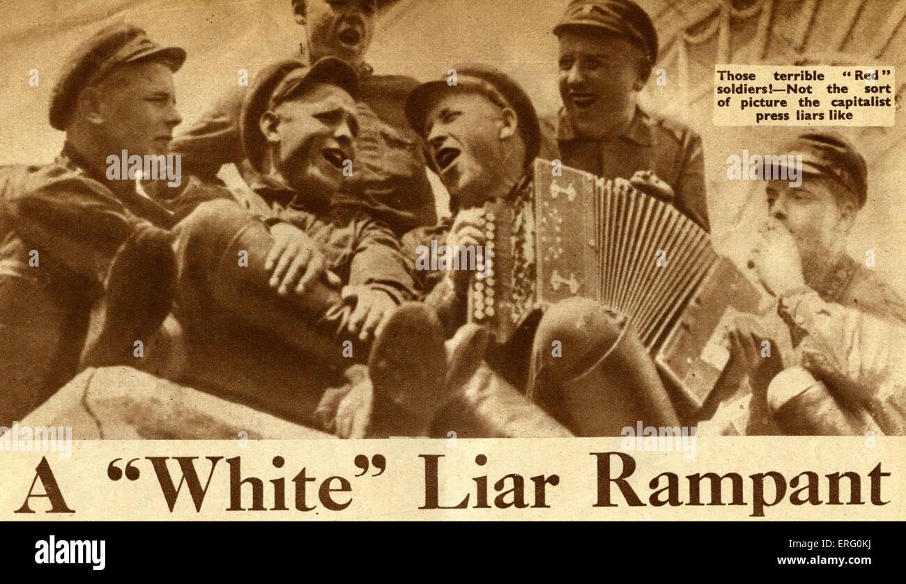 """Pro-sowjetischen dreißiger Jahre Propaganda in """"Rußland heute"""", Ausgabe Dezember 1932. Artikel Stockbild"""