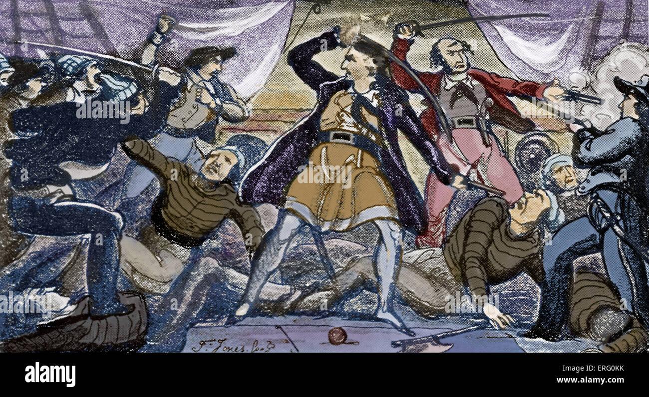 'Fight auf einem Piratenschiff', drucken. Piraten kämpfen mit Schwertern auf dem Deck eines Schiffes. Stockbild