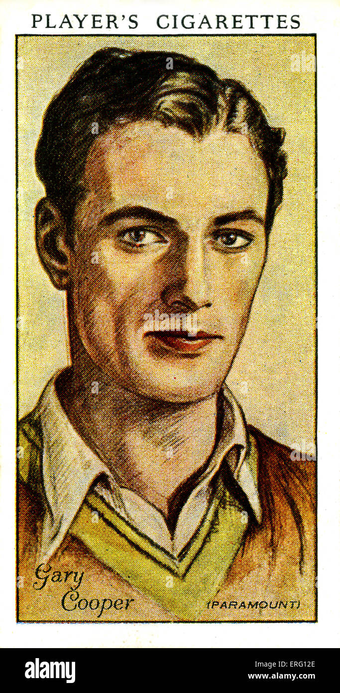 """Frank James """"Gary"""" Cooper, US-amerikanischer Schauspieler. 7. Mai 1901 ? 13. Mai 1961. (Zigarette Spielerkarte). Stockbild"""