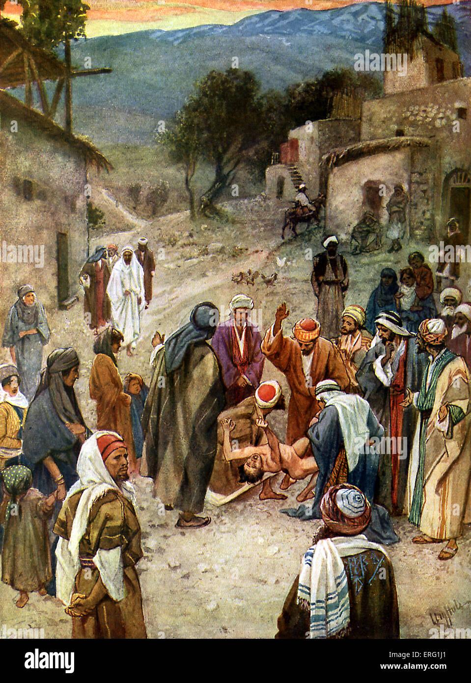 """Jesus wird einen bösen Geist nach herab vom Berg, auf dem er verklärt wurde, entfernt. """"Meister, Stockbild"""