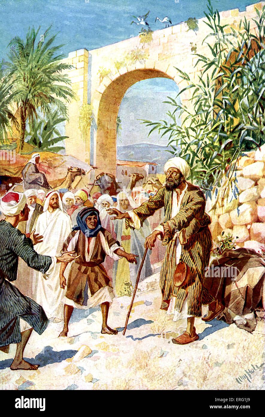 Jesus heilt einen blinden Bettler Bartimäus auf der Straße ...