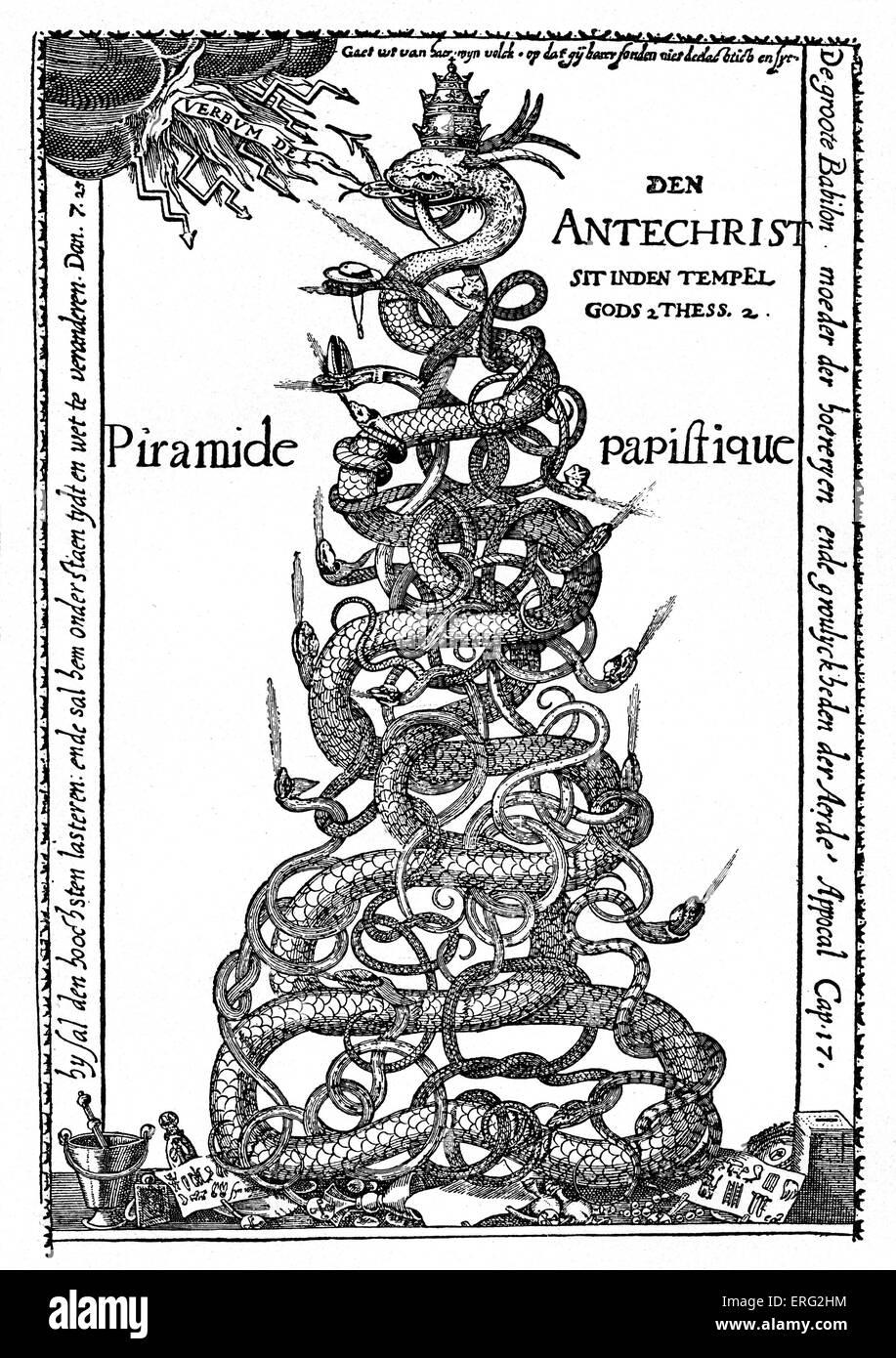 """Niederländische satirische Gravur mit dem Titel """"Der päpstlichen Pyramide"""".  Das Papsttum wird Stockbild"""