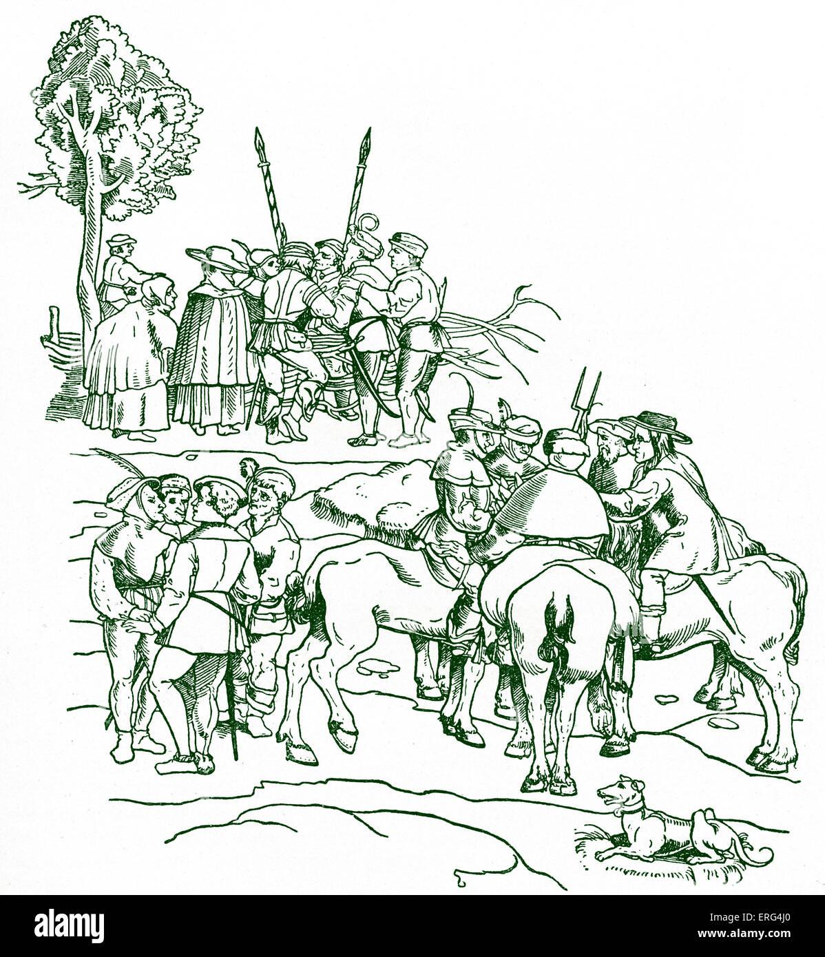 Bewaffnete Bauern Grundstück untereinander.   Deutschen Bauernkrieg. Deutsch aus dem 16. Jahrhundert Holzschnitt Stockbild