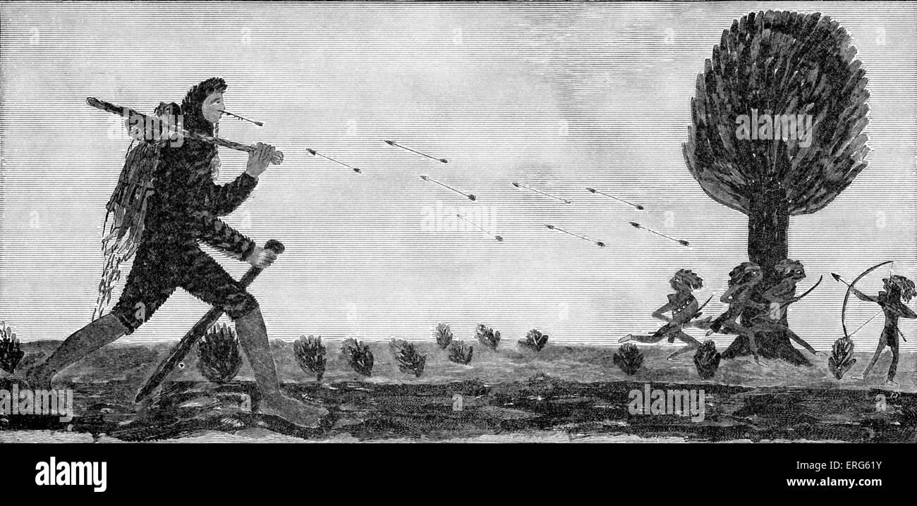 'Der Stone Giant - fighting ein Irokesen Zeichnung eines Irokesen Mythos'. Stein-Riesen sind Prominente Stockbild