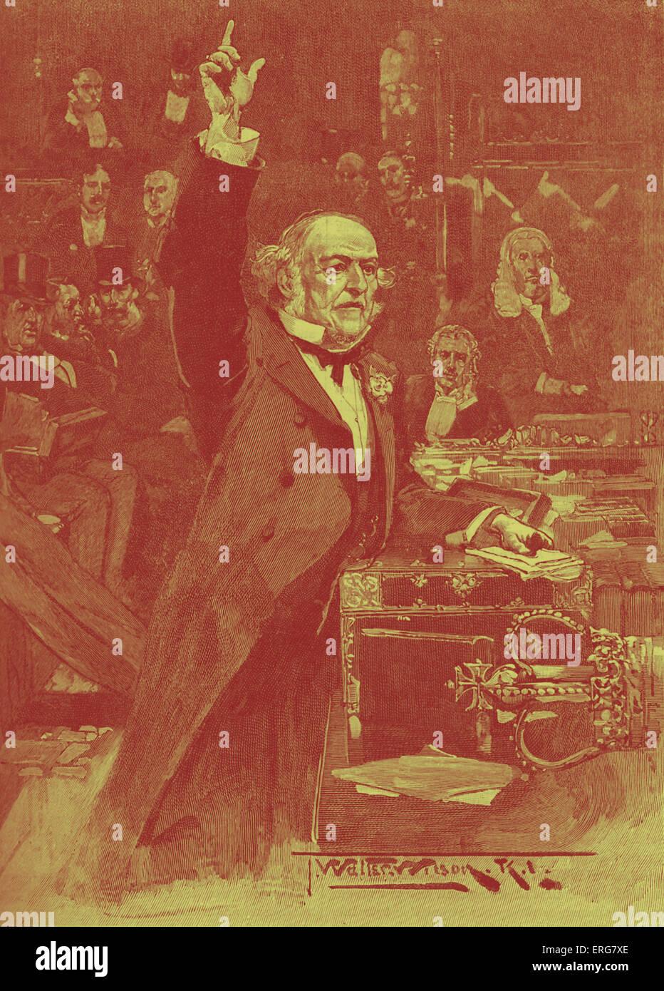 William Gladstone spricht für Selbstverwaltung-Rechnung, 1886. Liberale Premierminister führte erste Selbstverwaltung Stockbild