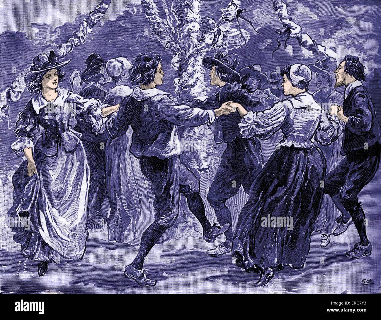 Tanz um den Maibaum, zweite Hälfte des 17. Jahrhunderts. Stockbild