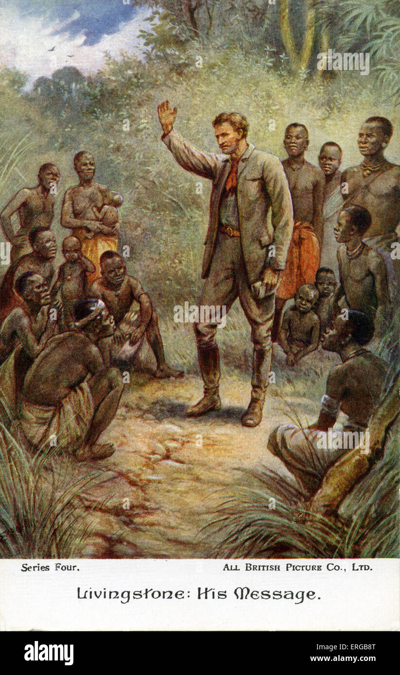 "David Livingstone auf dem afrikanischen Kontinent. Bildunterschrift lautet: ""Livingstone: seine Botschaft"". Stockbild"