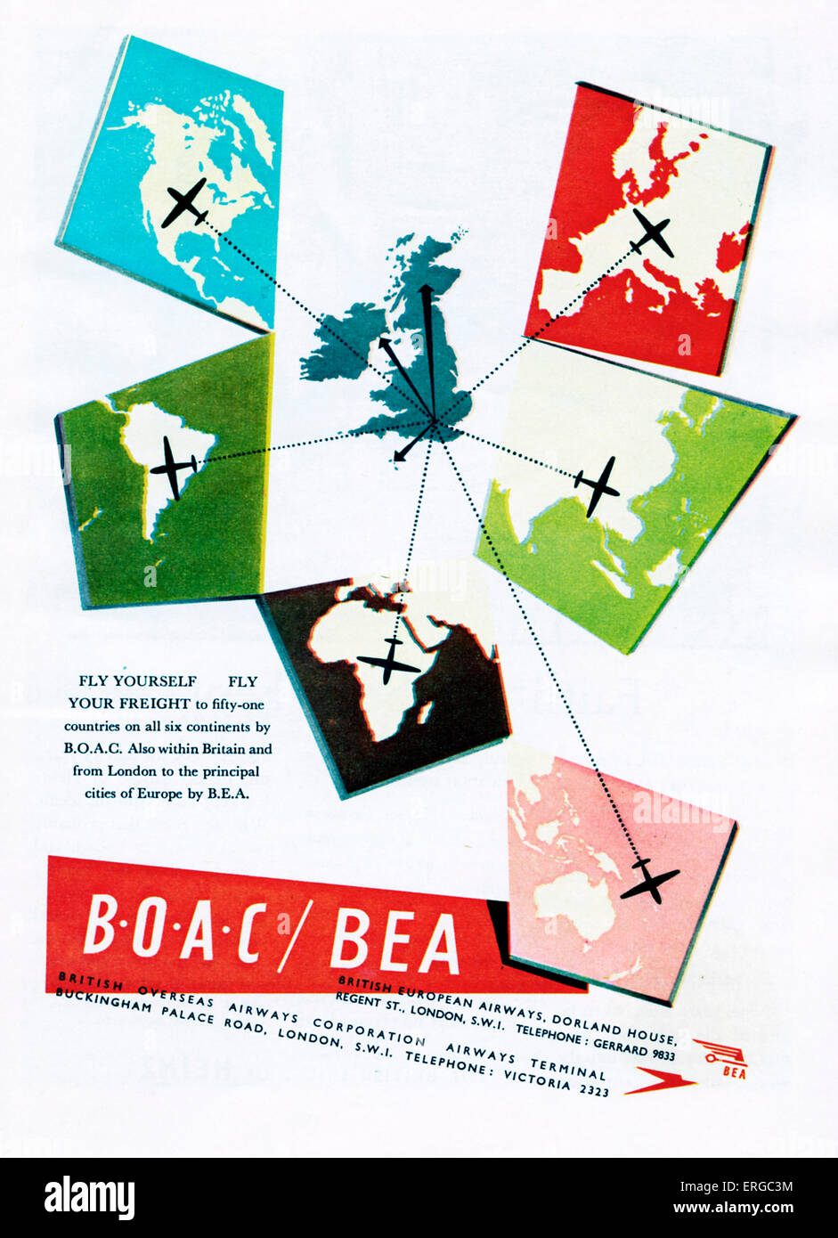 Werbung für BOAC / BEA, 1950er Jahre. BOAC: British Overseas Airways Corporation. BEA: British European Airways. Stockbild