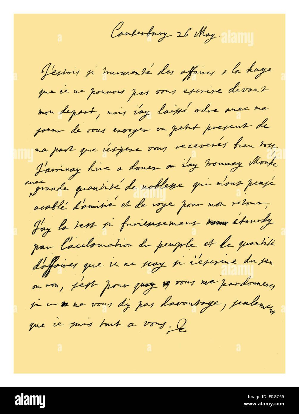 Französische Handschrift Stockfotos Französische Handschrift