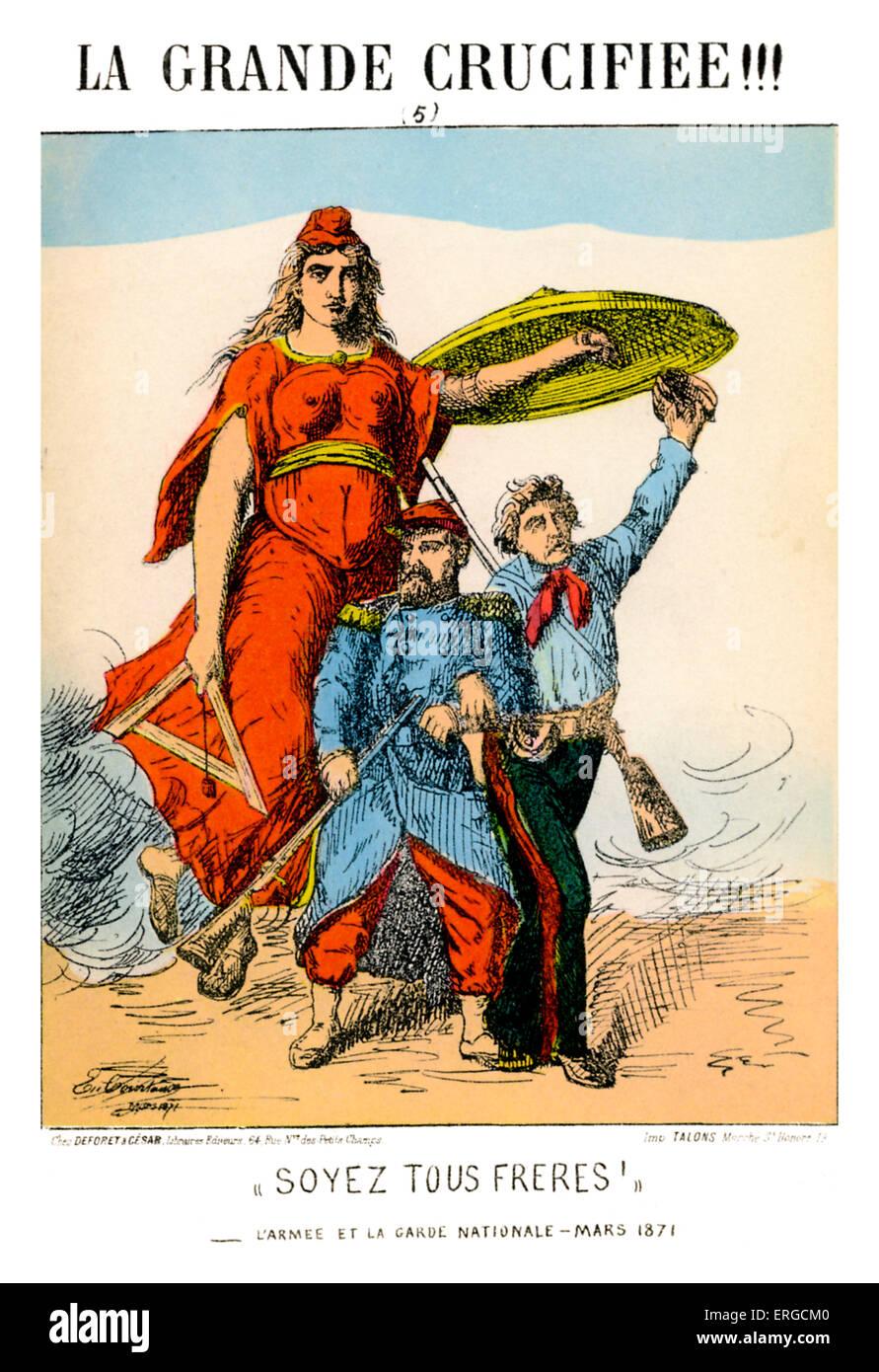 Die 1871 Paris Kommune - Karikatur. Regierung, die Frankreich 18. März - 28. Mai 1871 regierte. Personfication von Stockfoto