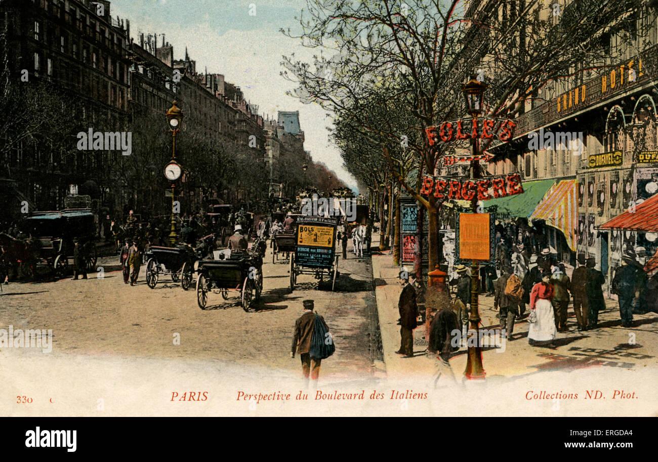 Boulevard des vergoß, Paris, um 1900 Stockbild