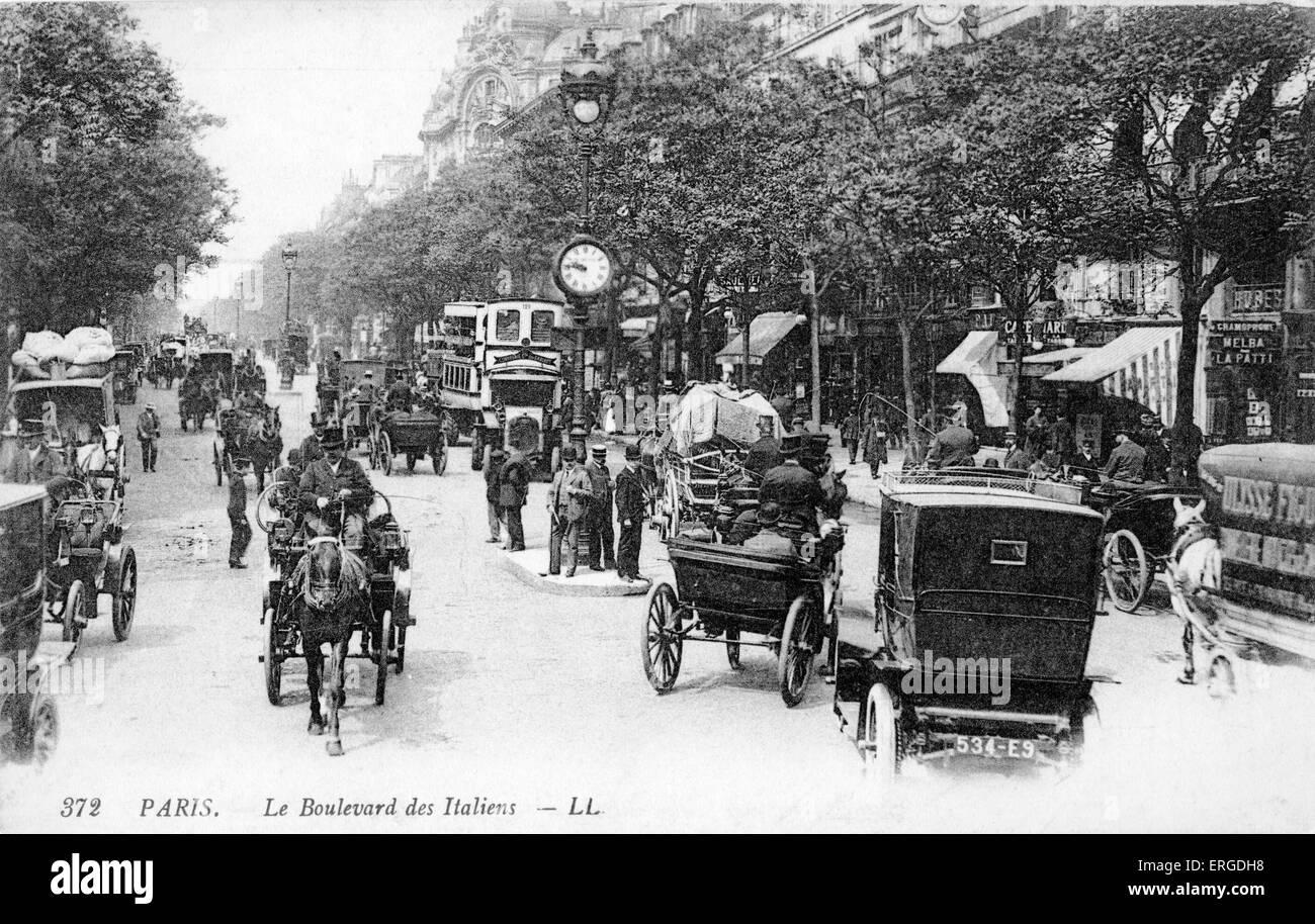 Boulevard des vergoß, Paris, um 1900. Blick auf die Straße. Stockbild
