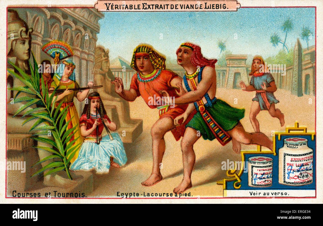 """Ägyptische Laufwettbewerb. In der Zeit der Pharaonen. Bildunterschrift lautet: """"Viermonatiges - la Course Stockbild"""