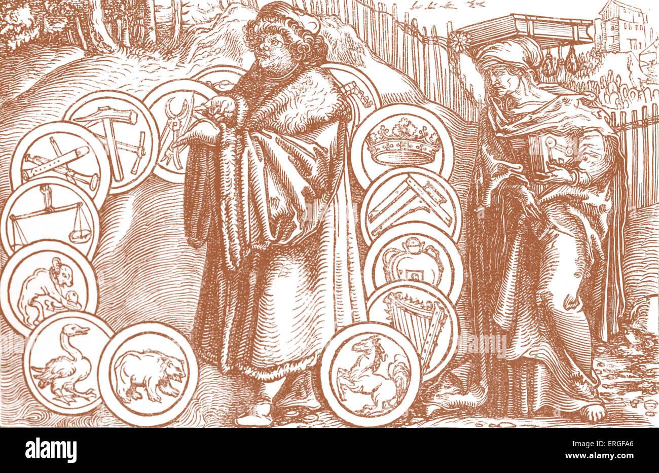 """""""Die Naturwissenschaften im Beisein von Philosophie"""". Von Faksimile des Holzstichs zugeschrieben Holbein Stockbild"""