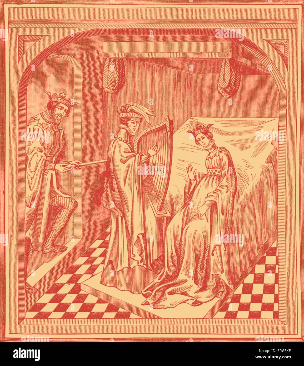"""""""König Marke stechende Tristan in Anwesenheit von Ysolt"""" - nach Miniatur in Handschrift des 15. Jahrhunderts. Stockbild"""