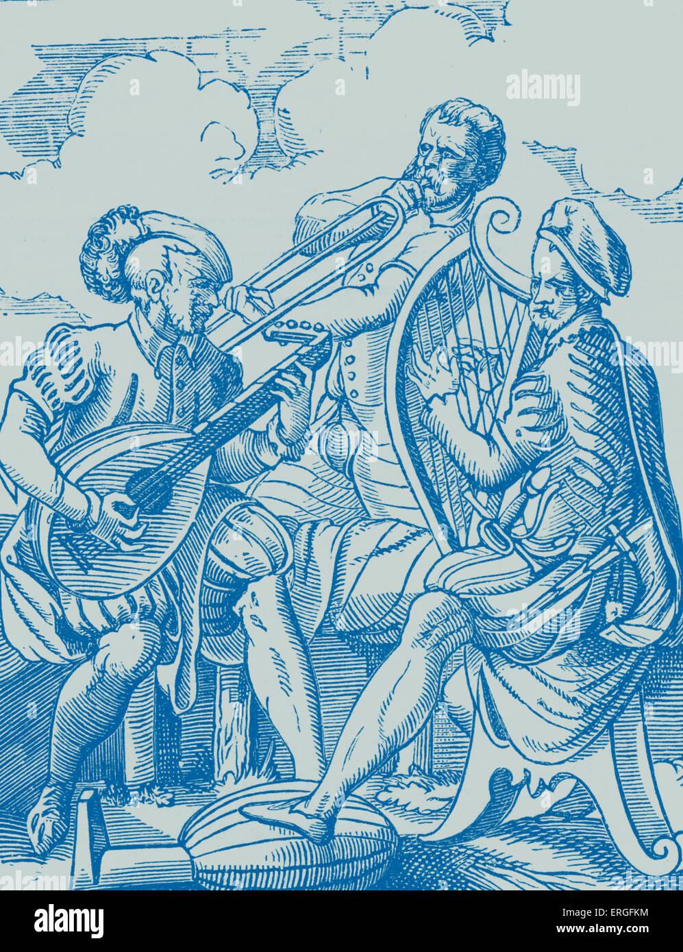 Deutsche Musiker spielen laute und Gitarre - von Kupferstich von J Amman, 16. Jahrhundert. Stockbild