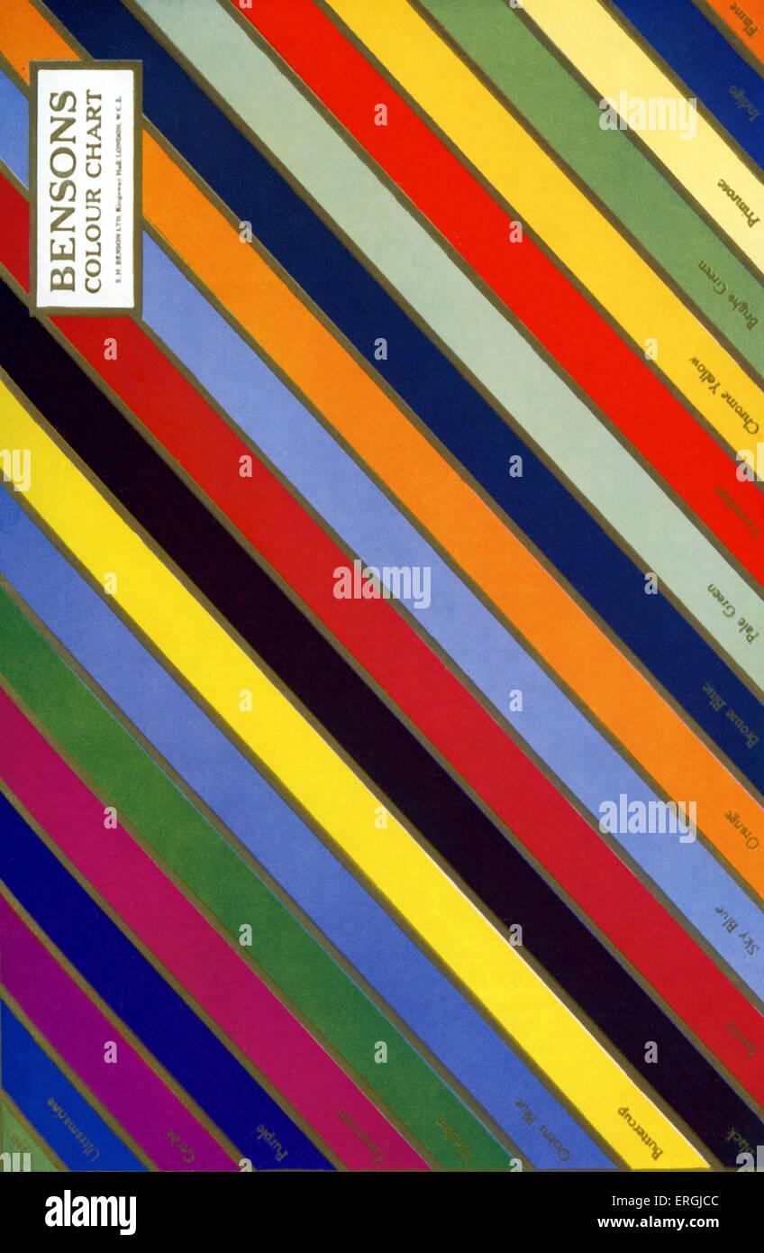 Bensons Farbkarte. Beispiel für Druck mit drei Farben Blöcke, 1930. Stockbild