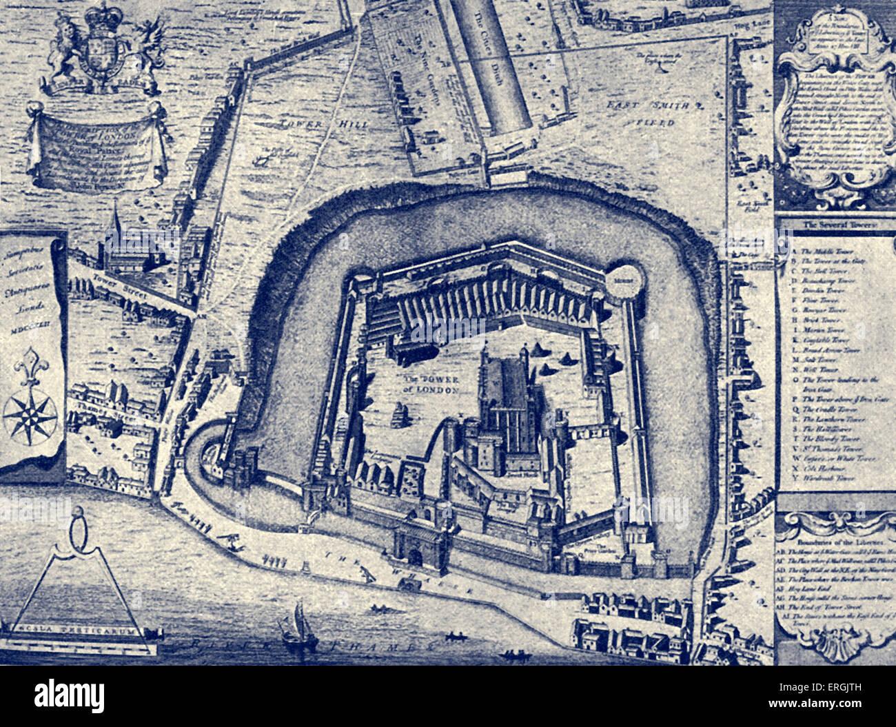 """Der Tower of London - vom Plan gemacht im Jahre 1597. (Mit dem Titel: """"Vestuta Monumenta"""" (""""Denkmäler""""). Stockbild"""