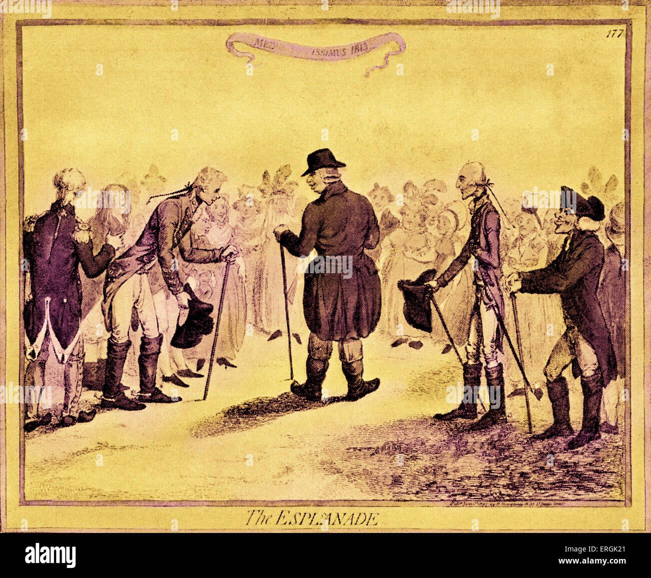 """George III - Karikatur von Gillray. Titel: """"George III auf der Esplanade in Weymouth"""". König des Stockbild"""