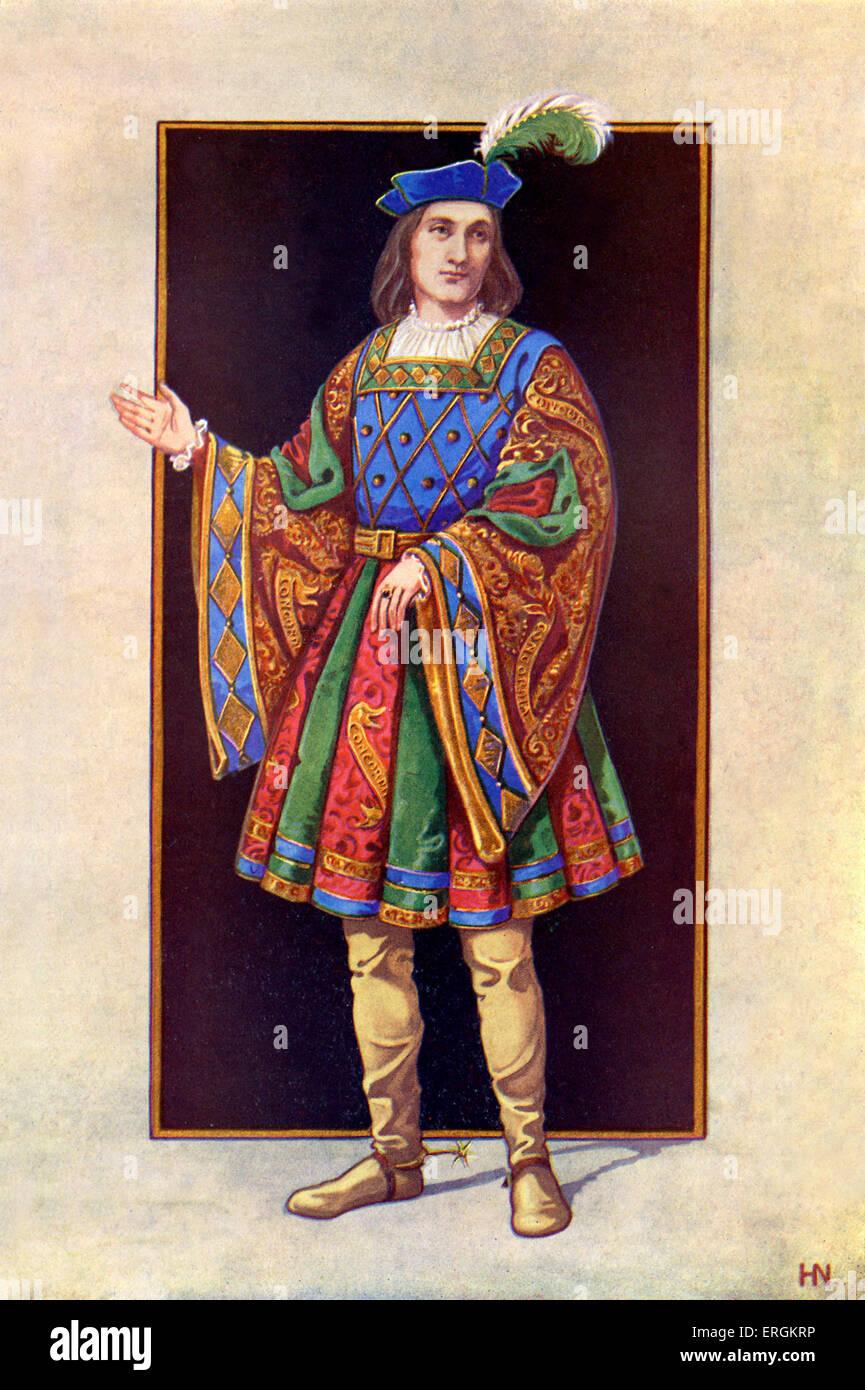 Beispiel für das Kostüm des modischen jungen englischen Höfling, 1510.After original Künstlers Stockbild
