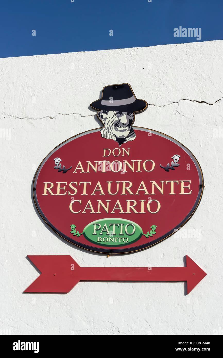 Zeichen des Restaurant Don Antonio, Betancurai, Fuerteventura, Kanarische Inseln, Spanien Stockbild