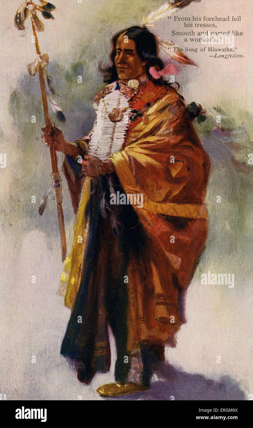 """Hiawatha, der legendäre Irokesen Führer. Bildunterschrift lautet: """"von seiner Stirn fiel seine locken Stockbild"""