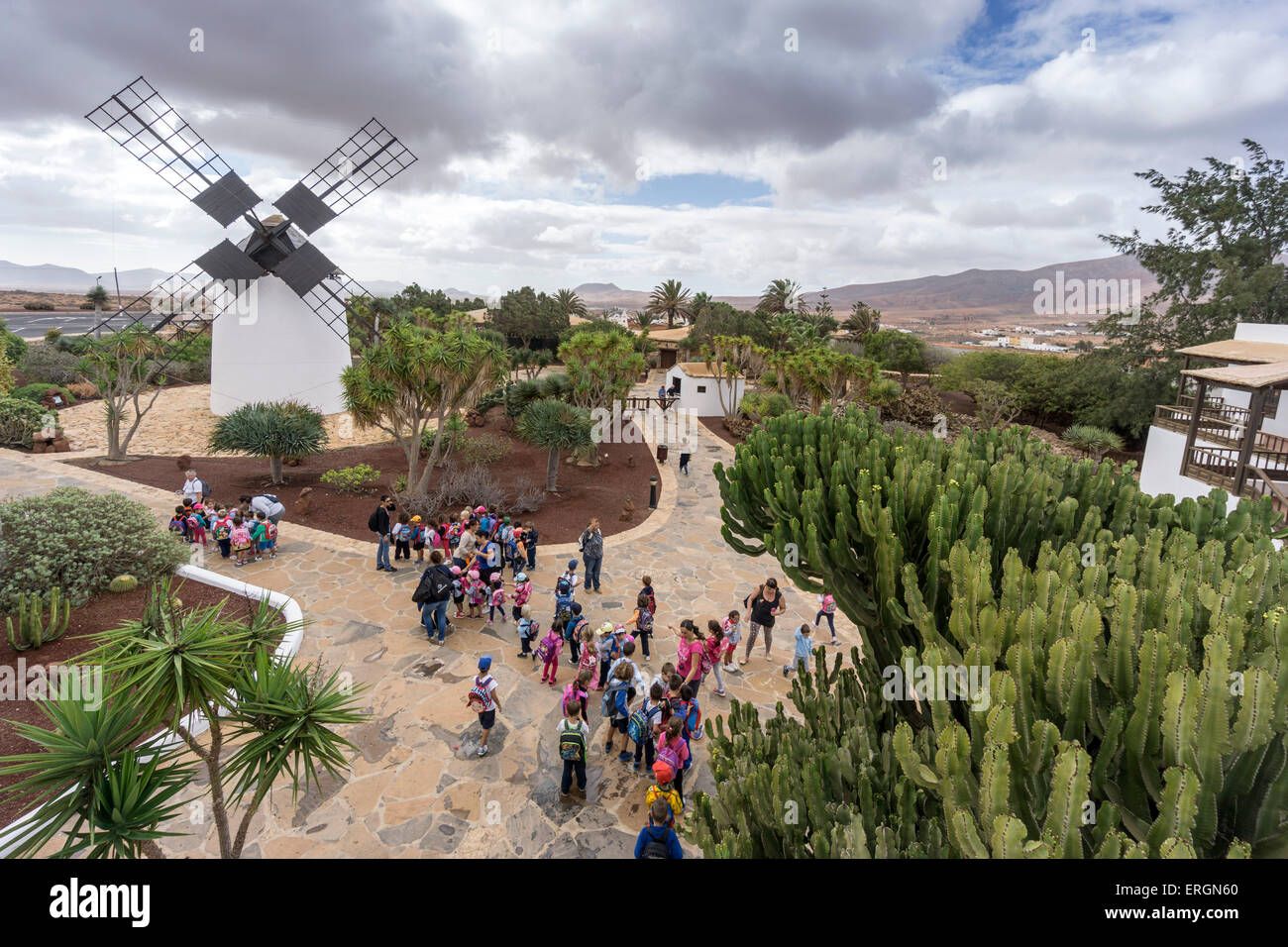Molina de Antigua, Windmühle, Schule Klasse, Fuerteventura, Kanarische Inseln, Spanien Stockbild