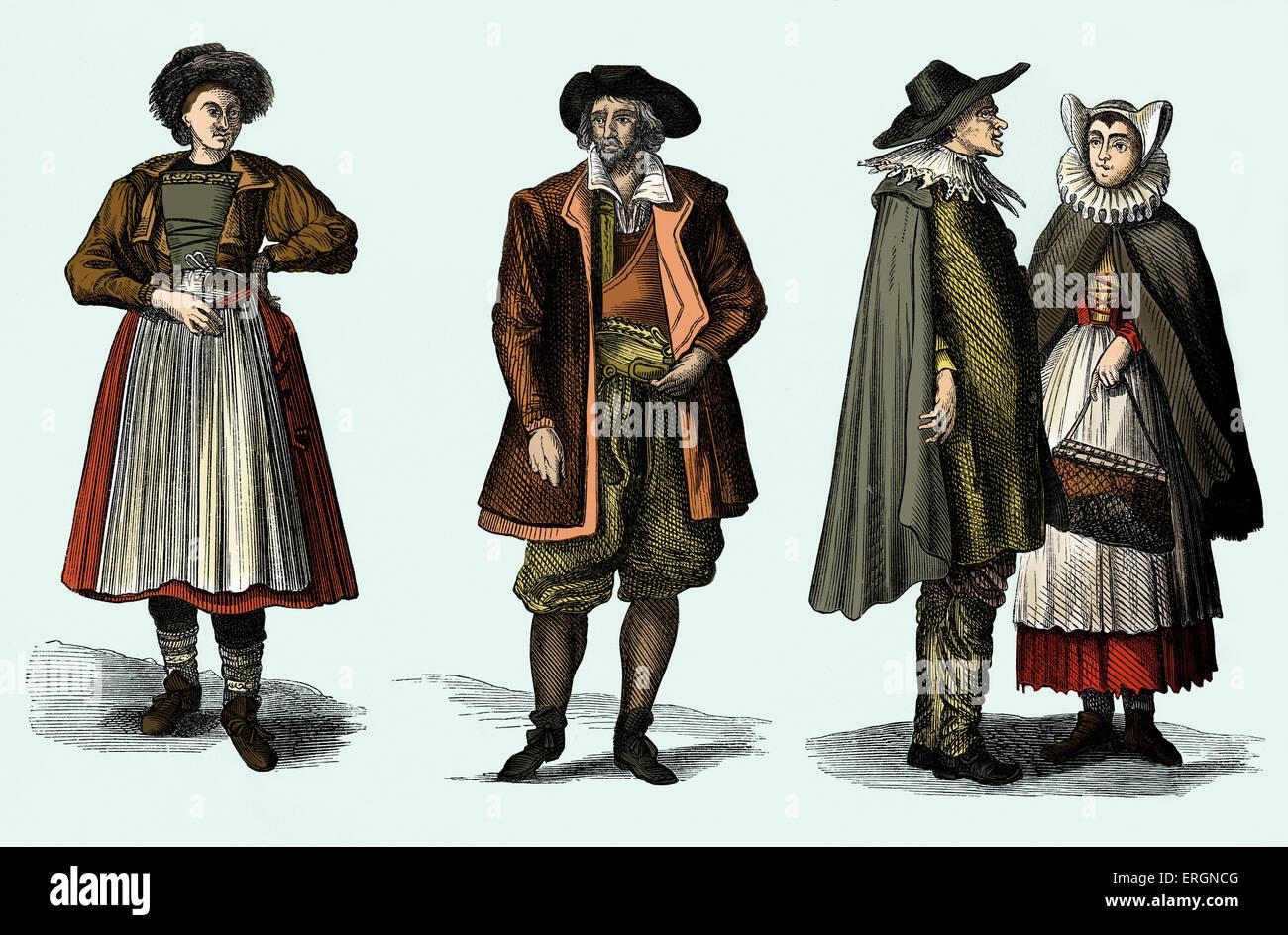 Beispiel für jüdische Kleidung im frühen 18. Jahrhundert Frankfurt am Main, Deutschland. Stockbild