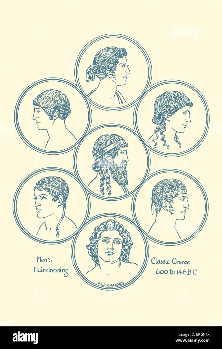 Antike griechische Frisuren. Beispiel für Herren Friseur im klassischen Griechenland, 600-146 BC. Nach dem Stockbild