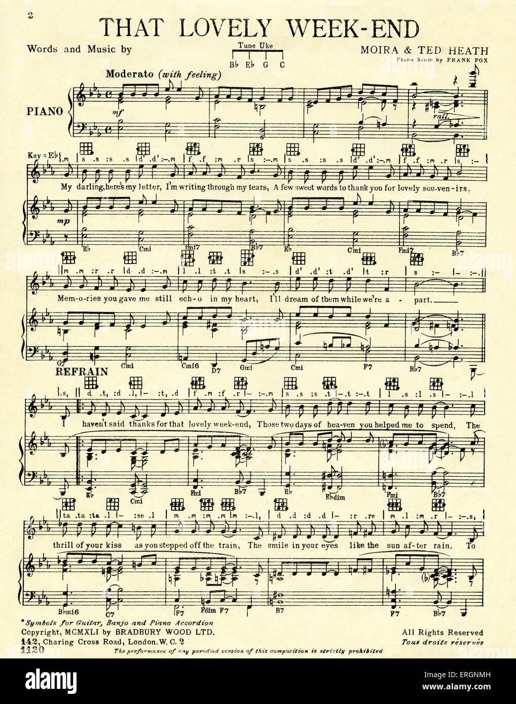Das schöne Wochenende, - Score - Text und Musik von Moira und Ted Heath, Partitur, herausgegeben von Bradbury Stockbild
