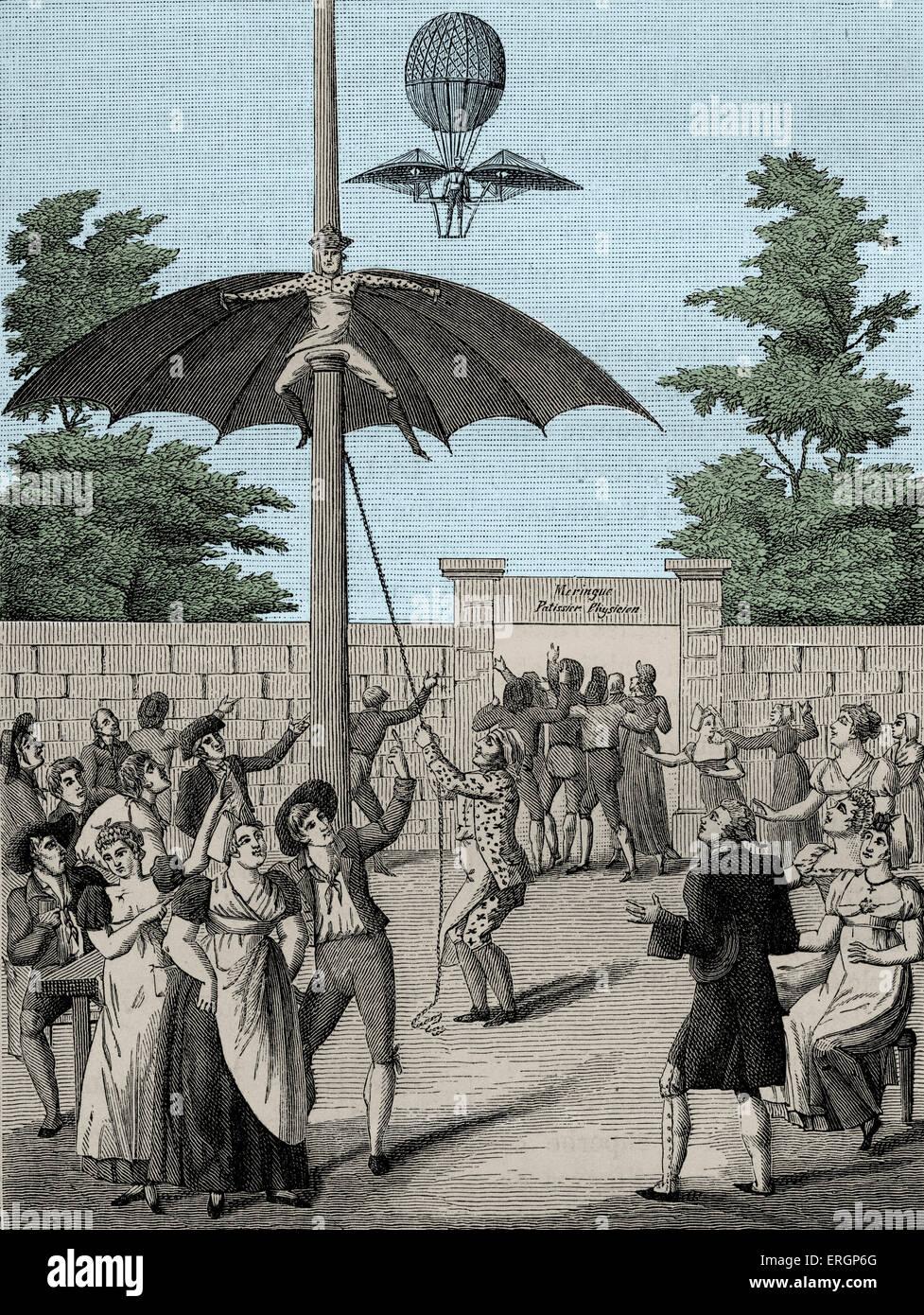 Menschen fliegen, Park Unterhaltung im Garten d'Idalie, Calais, Frankreich. des 19. Jahrhunderts. Stockbild