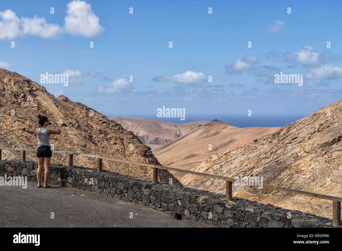 Degollada de Los Granadillos, Sicht, Fuerteventura Kanarische Inseln, Spanien Stockbild