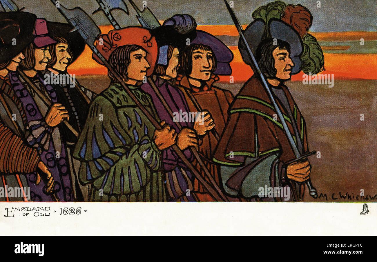 Männertracht von 1525. Gruppe von Männern tragen Äxte und Schwerter, tragen locker sitzende Jacken Stockbild