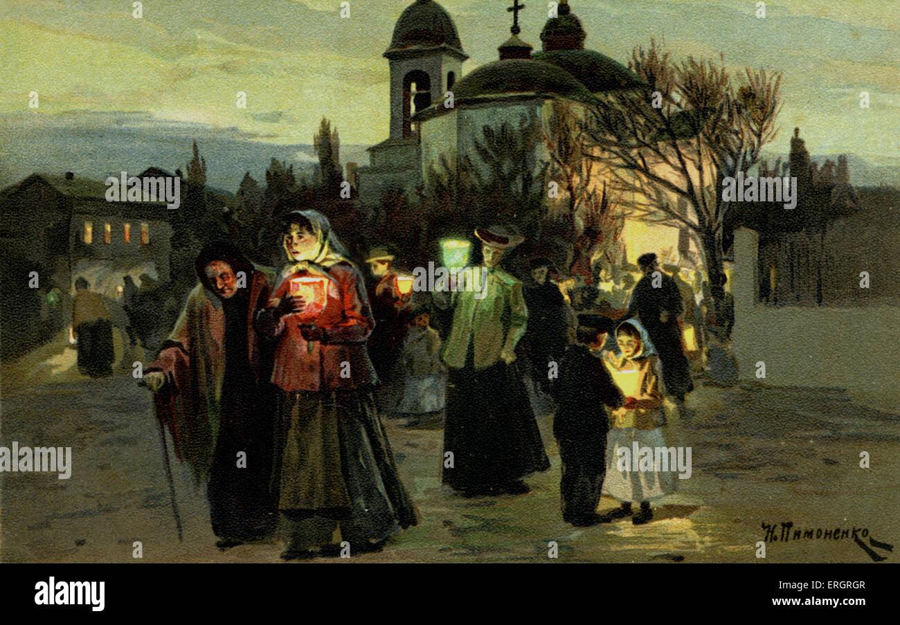 Nächtliche Prozession in Russland. Illustration von N. Pimonenko, 1904. Russische orthodoxe Kirche.  Pre-bolschewistischen Stockbild