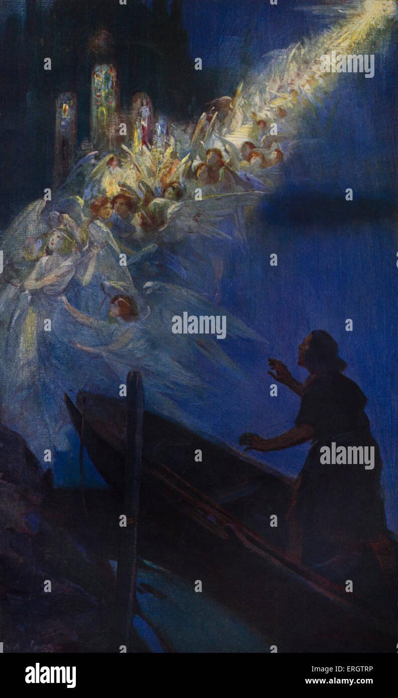 Die legendäre Weihe der Westminster Abbey: die Fischer Vision. Legende des Fischers Edric, wirft seine Netze Stockbild